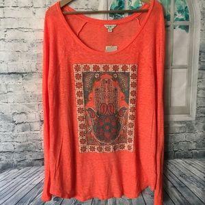 Lucky Lotus Lucky Brand Hand Soft Orange shirt XL